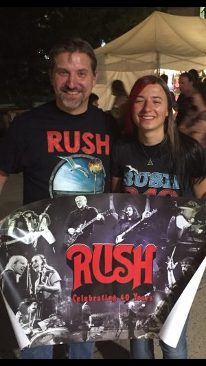 Cynthia Jeub with her dad at the Rush concert, 2015.